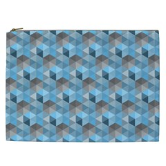 Hexagon Cube Bee Cell  Blue Pattern Cosmetic Bag (xxl)  by Cveti