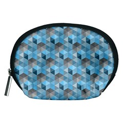 Hexagon Cube Bee Cell  Blue Pattern Accessory Pouches (medium)  by Cveti