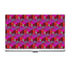 Hexagon Cube Bee Cell  Red Pattern Business Card Holders by Cveti