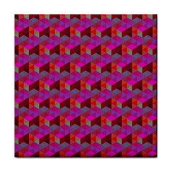 Hexagon Cube Bee Cell  Red Pattern Face Towel by Cveti