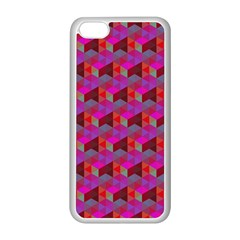 Hexagon Cube Bee Cell  Red Pattern Apple Iphone 5c Seamless Case (white) by Cveti