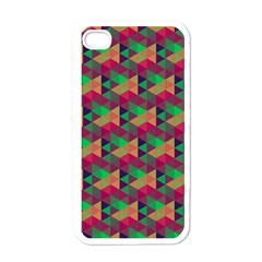 Hexagon Cube Bee Cell Pink Pattern Apple Iphone 4 Case (white)