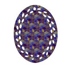 Hexagon Cube Bee Cell Purple Pattern Oval Filigree Ornament (two Sides) by Cveti