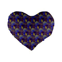Hexagon Cube Bee Cell Purple Pattern Standard 16  Premium Flano Heart Shape Cushions by Cveti