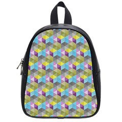 Hexagon Cube Bee Cell 1 Pattern School Bag (small) by Cveti
