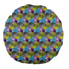 Hexagon Cube Bee Cell 1 Pattern Large 18  Premium Round Cushions by Cveti