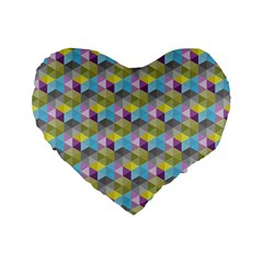 Hexagon Cube Bee Cell 1 Pattern Standard 16  Premium Flano Heart Shape Cushions by Cveti