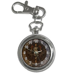 Golden Chinese Dragon On Vintage Background Key Chain Watches by FantasyWorld7