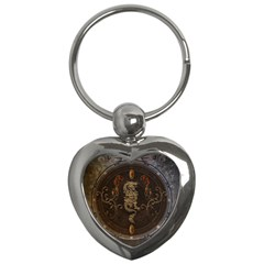 Golden Chinese Dragon On Vintage Background Key Chains (heart)  by FantasyWorld7