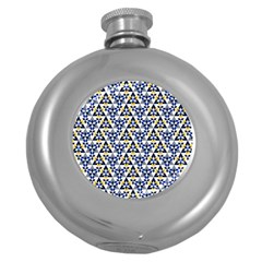 Snowflake With Crystal Shapes Round Hip Flask (5 Oz) by Cveti
