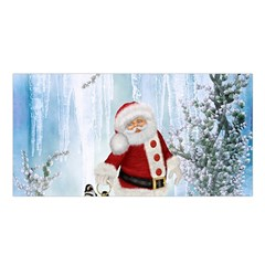 Santa Claus With Funny Penguin Satin Shawl by FantasyWorld7