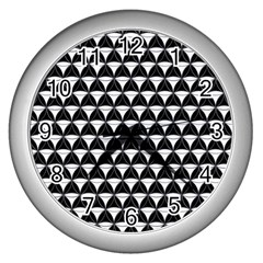 Diamond Pattern Black White Wall Clocks (silver)  by Cveti