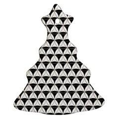 Diamond Pattern White Black Christmas Tree Ornament (two Sides) by Cveti