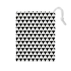 Diamond Pattern White Black Drawstring Pouches (large)  by Cveti