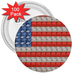 Geometricus Usa Flag 3  Buttons (100 Pack)  by Celenk