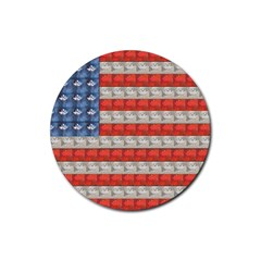 Geometricus Usa Flag Rubber Round Coaster (4 Pack)  by Celenk