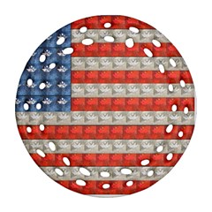 Geometricus Usa Flag Round Filigree Ornament (two Sides) by Celenk