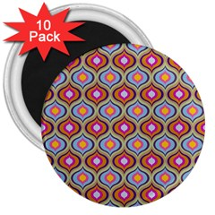 Blue Leaves Eyes Pattern 3  Magnets (10 Pack)  by Cveti