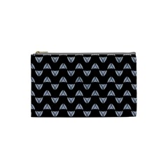 Wave Pattern Black Grey Cosmetic Bag (small)  by Cveti