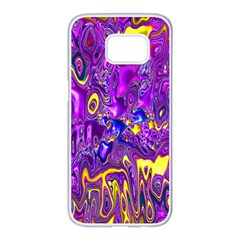 Melted Fractal 1a Samsung Galaxy S7 Edge White Seamless Case by MoreColorsinLife