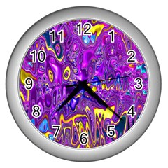 Melted Fractal 1a Wall Clocks (silver)  by MoreColorsinLife