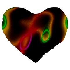 Vibrant Fantasy 4 Large 19  Premium Flano Heart Shape Cushions by MoreColorsinLife