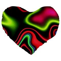 Vibrant Fantasy 1b Large 19  Premium Flano Heart Shape Cushions by MoreColorsinLife