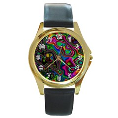 Vibrant Fantasy 6 Round Gold Metal Watch by MoreColorsinLife