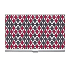 Rhomboids Pattern Red Grey Business Card Holders by Cveti