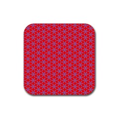 Flower Of Life Pattern Red Purle Rubber Coaster (square)  by Cveti