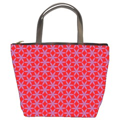Flower Of Life Pattern Red Purle Bucket Bags by Cveti