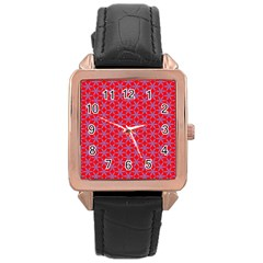 Flower Of Life Pattern Red Purle Rose Gold Leather Watch  by Cveti
