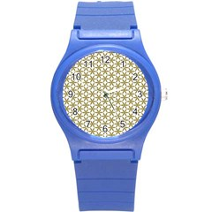 Flower Of Life Pattern Cold White Round Plastic Sport Watch (s) by Cveti