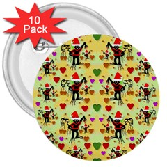 Santa With Friends And Season Love 3  Buttons (10 Pack)  by pepitasart