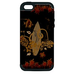 Hawaiian, Tropical Design With Surfboard Apple Iphone 5 Hardshell Case (pc+silicone) by FantasyWorld7