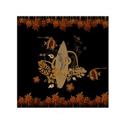 Hawaiian, Tropical Design With Surfboard Small Satin Scarf (square) by FantasyWorld7