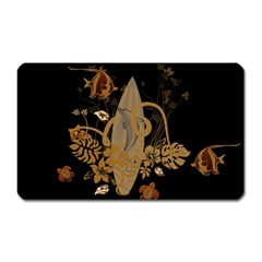 Hawaiian, Tropical Design With Surfboard Magnet (rectangular) by FantasyWorld7