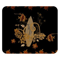 Hawaiian, Tropical Design With Surfboard Double Sided Flano Blanket (small)  by FantasyWorld7
