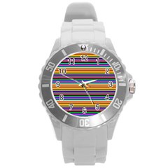 Pattern Round Plastic Sport Watch (l) by gasi