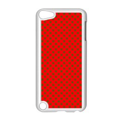Green Christmas Stars On Festive Red Apple Ipod Touch 5 Case (white) by Beachlux
