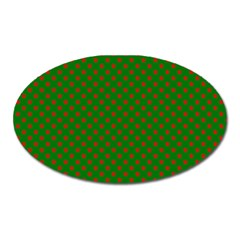 Red Stars On Christmas Green Background Oval Magnet by PodArtist