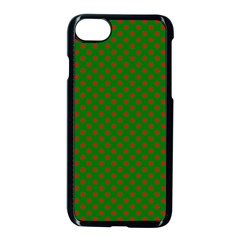Red Stars On Christmas Green Background Apple Iphone 8 Seamless Case (black) by PodArtist