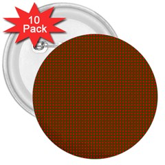Classic Christmas Red And Green Houndstooth Check Pattern 3  Buttons (10 Pack)  by PodArtist