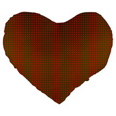 Classic Christmas Red And Green Houndstooth Check Pattern Large 19  Premium Flano Heart Shape Cushions by PodArtist