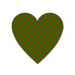 Large Red Christmas Hearts On Green Heart Magnet by PodArtist