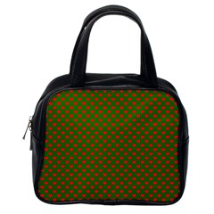 Large Red Christmas Hearts On Green Classic Handbags (one Side) by PodArtist