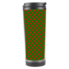 Large Red Christmas Hearts On Green Travel Tumbler by PodArtist