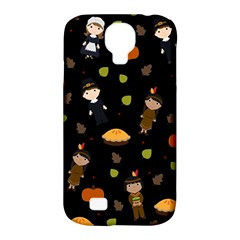 Pilgrims And Indians Pattern   Thanksgiving Samsung Galaxy S4 Classic Hardshell Case (pc+silicone) by Valentinaart