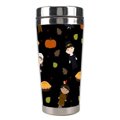 Pilgrims And Indians Pattern   Thanksgiving Stainless Steel Travel Tumblers by Valentinaart