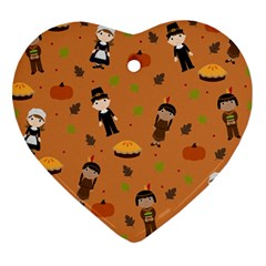Pilgrims And Indians Pattern   Thanksgiving Heart Ornament (two Sides) by Valentinaart